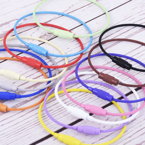 150*1.5mm Stainless Steel Colorful Wire Keychain Cable Keychain Cable Key Ring Outdoor Hanging Accessories 10pcs 10253949
