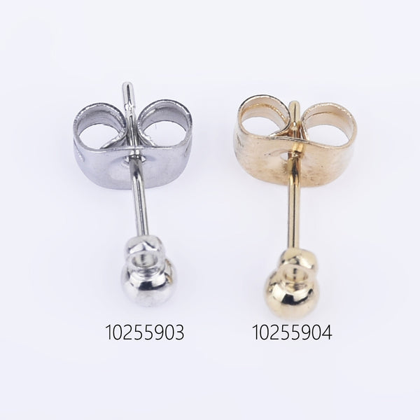 3mm Stainless Steel Ball Ear Posts with Loops Ball Post Earring DIY Earring Ear Backs Included Jewelry Findings 20pcs 102559