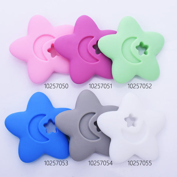 "2 1/2"" Star Moon silicone teether teething toy baby teether pendant 100% Food Grade DIY necklace 1pcs 102570"