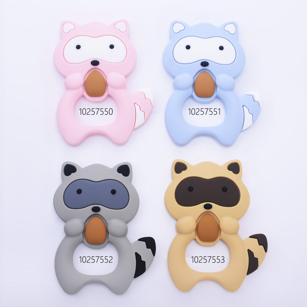 "4*2 3/4*1/2"" Raccoon animal silicone teether teething Silicone Pendant Baby teething toy chew toy food grade silicone 1pcs"