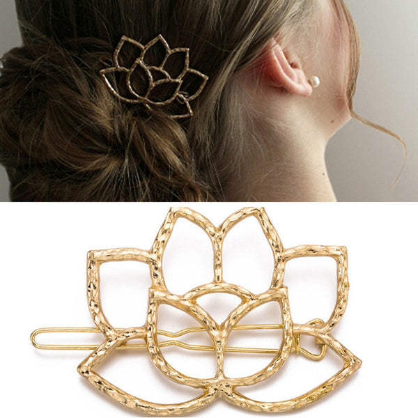 "2"" Lotus Hair Clip Geometric Hair Clip Hair Barrette Stylish Hair Clip Minimalist Hair Accessory 5pcs 102610"
