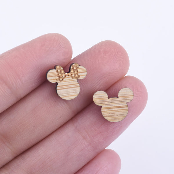 12*10mm Mickey and Minnie Laser cut wooden earrings engraved and laser cut Wood Charm Earring Supplies 6pcs 10261150