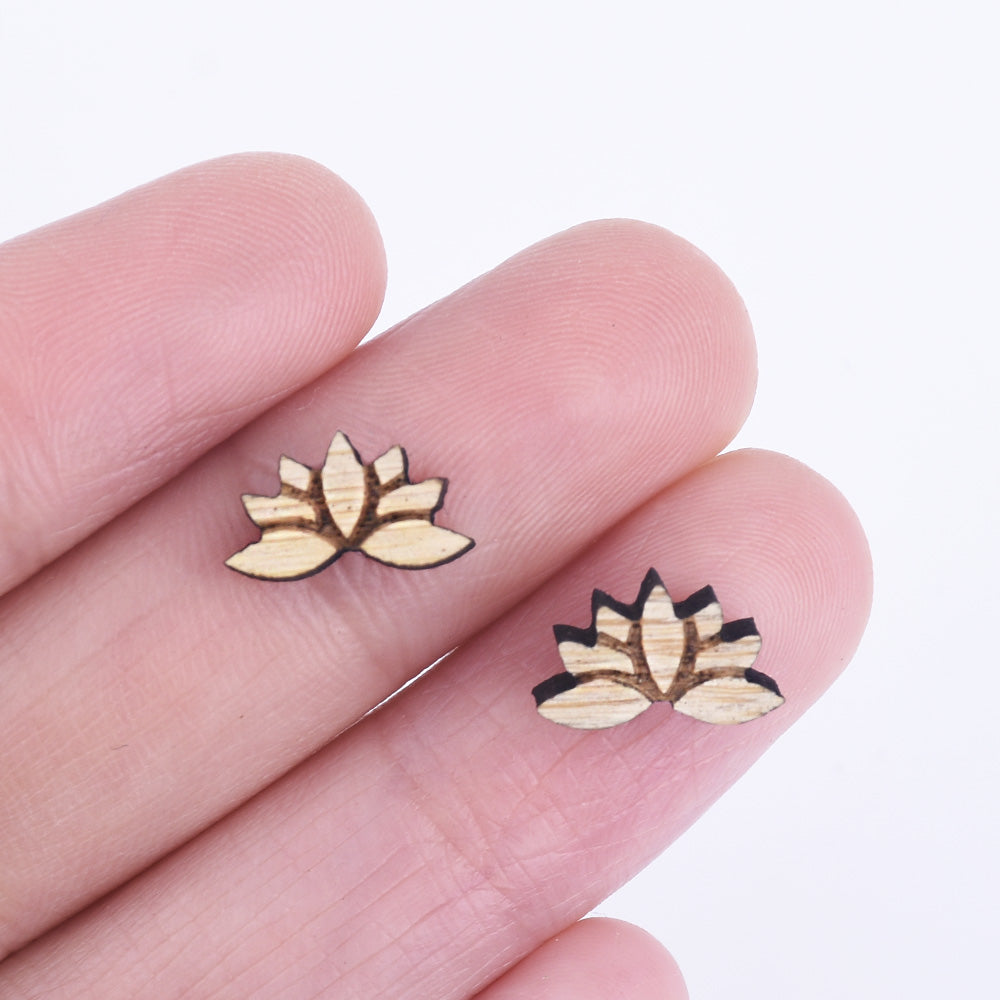 127mm Lotus Flower Laser Cut Wood Earrings Lotus Flower Stud