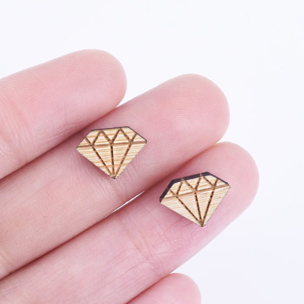 12*8mm Diamond Wood Charm Laser Cut Diamond Shapes wooden earrings Charms Cabochons Supplies 6pcs 10261162