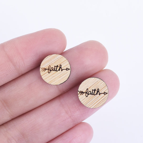12*12mm Baith Arrow Round Wood Charm Laser cut wooden earrings laser cut jewelry Engraved Cabochons 6pcs 10261170