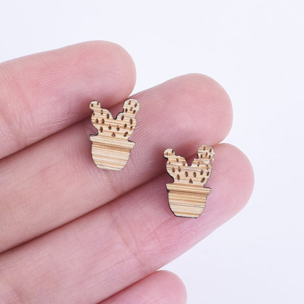 12*8mm Laser Cut Cactus with flowerpot Wood Charm Earring Supplies Laser Cut Wood Ear Stud Wood Cabochons 6pcs 10261172