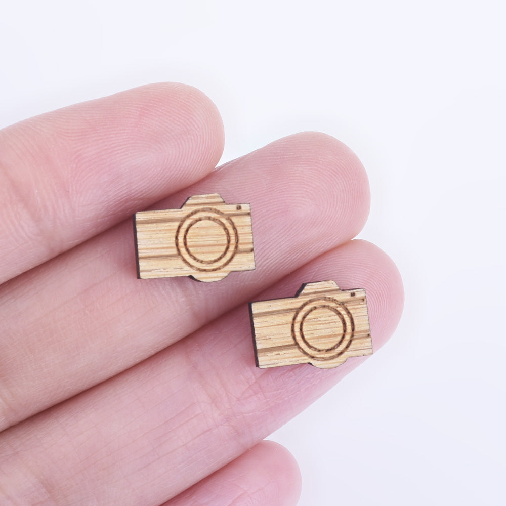 12*9mm DIY Laser Cut Wooden Camera Charms Wood Charm Laser Cut Supplies Earring Supplies Wood Cabochons 6pcs 10261174