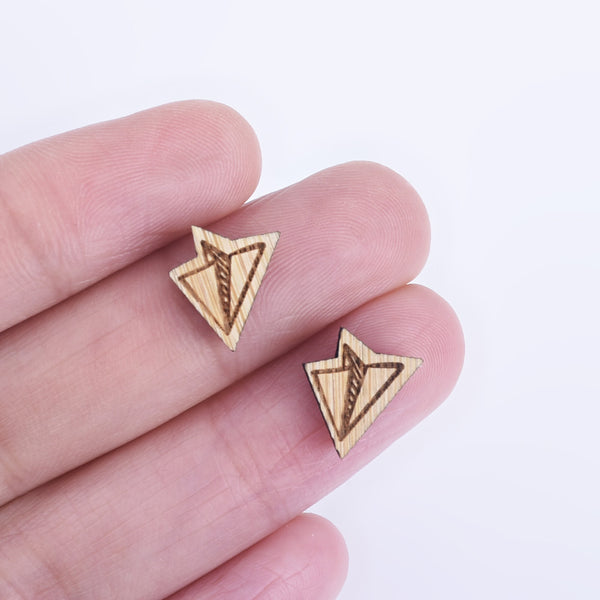 11*10mm Laser Cut Paper Plane Wood Charm DIY Laser Cut Mini Charm Wood Cabochons Earring Supplies 6pcs 10261175