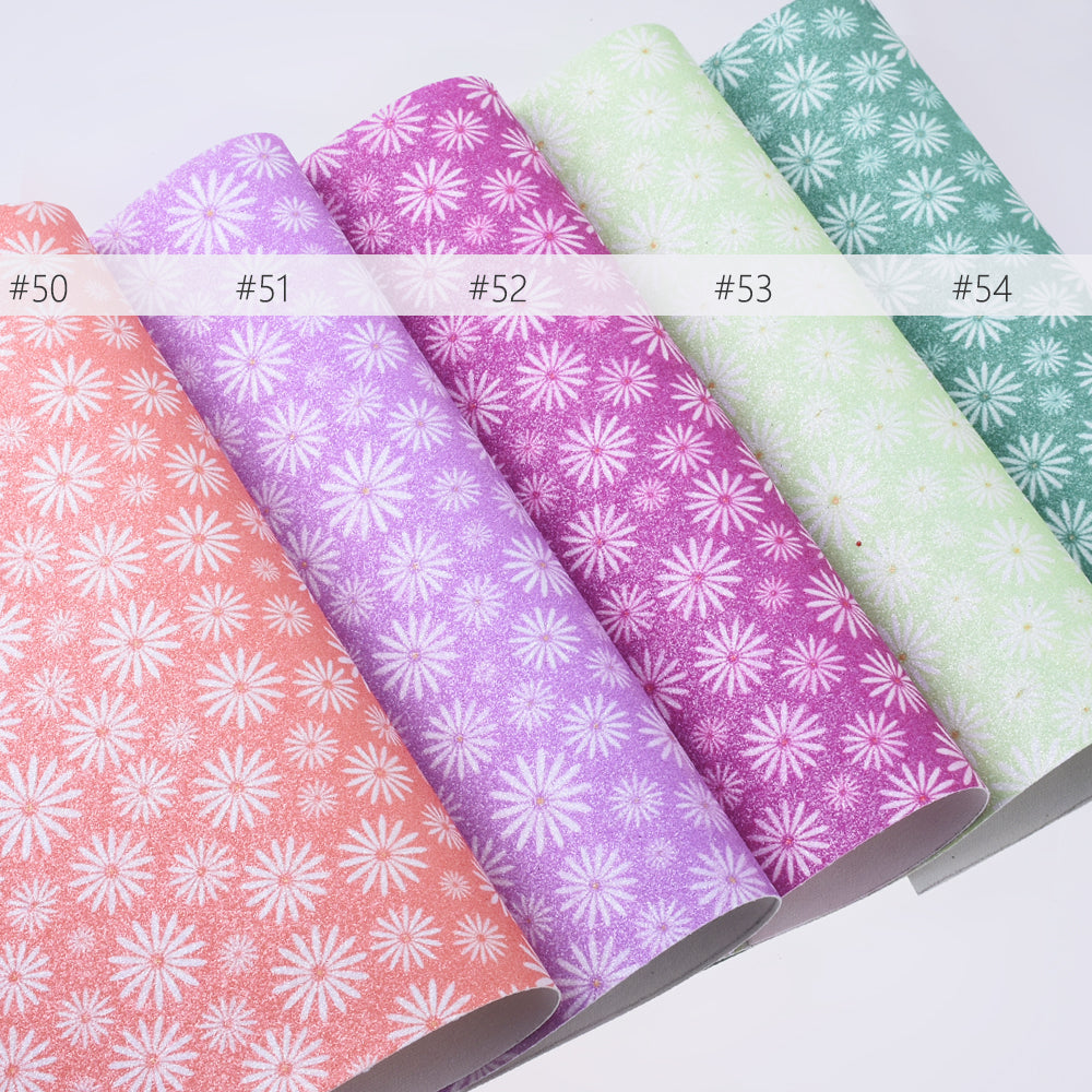 "8*12"" PU Chrysanthemum Embossed Faux leather sheets Glitter Vinyl Sheets for craft 1pcs 102626"