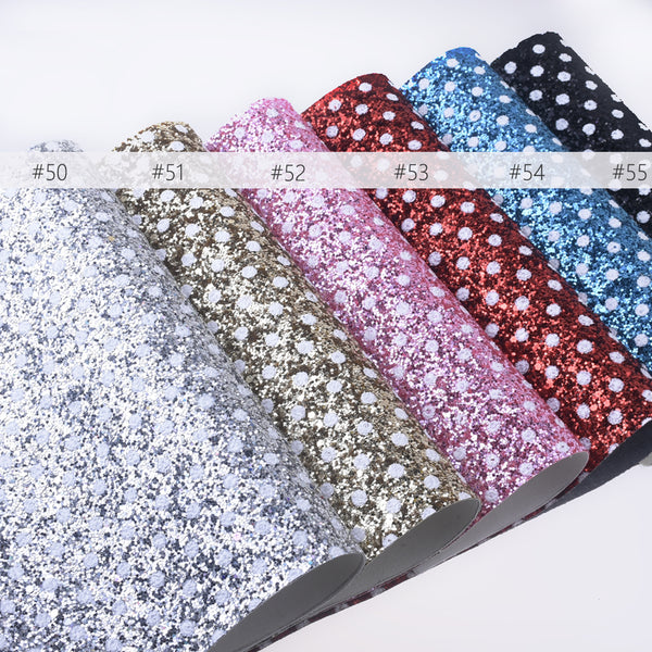 "8*12"" White Polka dot Faux leather sheets Glitter Synthetic Leather Sheets for purse wallet 1pcs 102633"