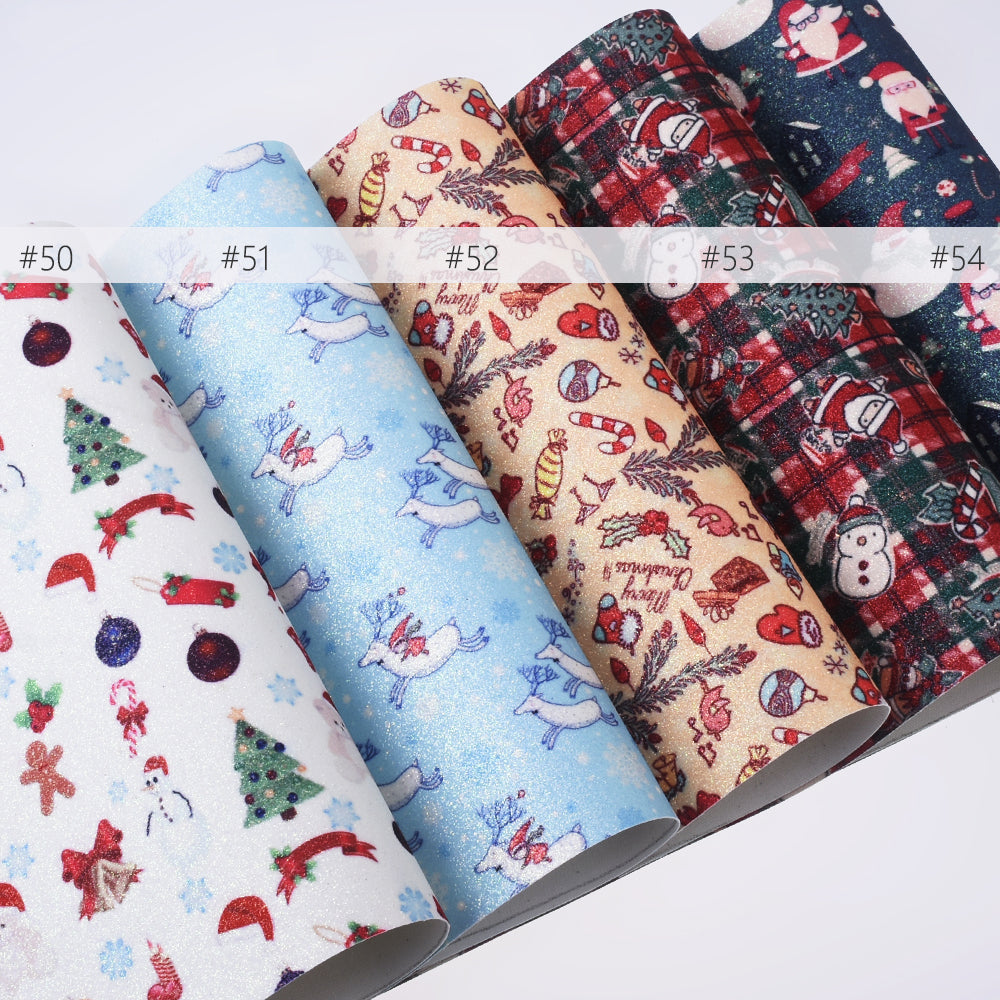"8*12"" Merry Christmas Faux leather sheets Synthetic Leather Fabric Sheets for bag keychain 1pcs 102635"