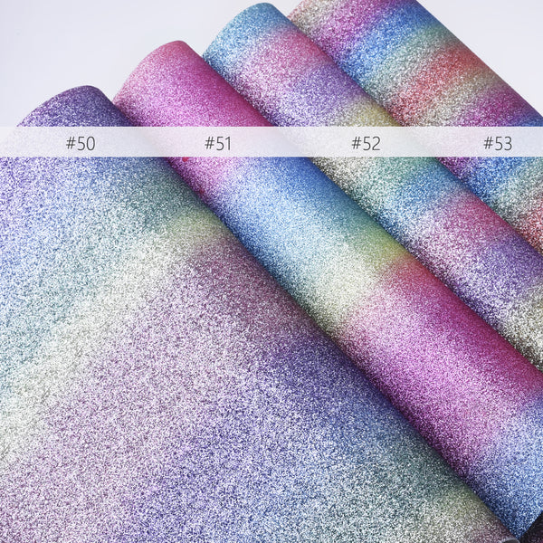 "8*12"" Silver Rainbow Glitter Faux leather sheets Glitter Fabric for Crafts and Hair Bows 1pcs 102636"