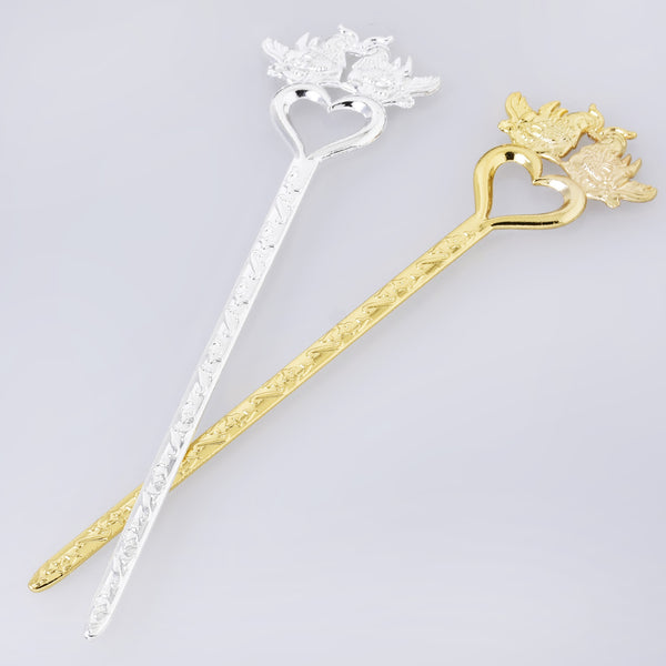 160*40*3mm Alloy hair stick Hairpin Bookmark Hair Pin Stick Lover Bird Women Hair Accessory 5pcs 102658