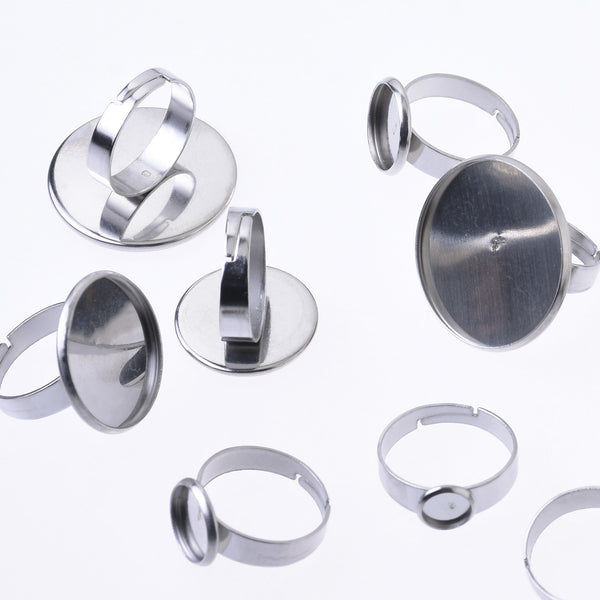 17mm Stainless Steel Adjustable Ring Blank Round Bezel Ring Base Rings For Women 20pcs 102682