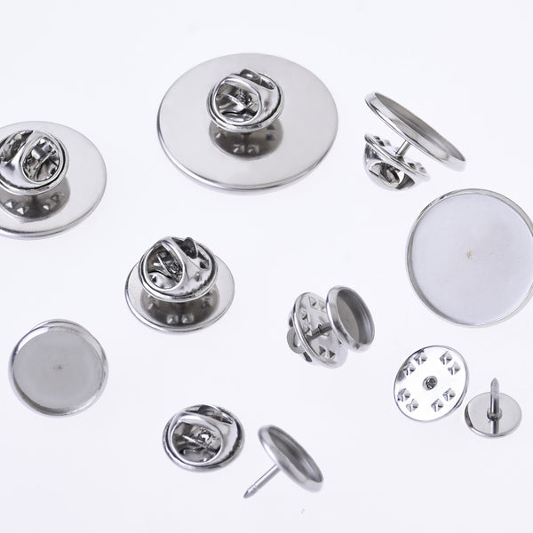Stainless Steel Lapel Pin Brooch base Settings Tie Tack Blank Pins fit round cabochons DIY Crafts 20pcs 102683