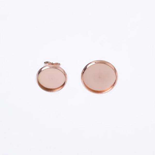 Stainless steel Bezel Earring Studs 10/12mm tray cabochon earring setting For Jewelry Making 10pcs 102698