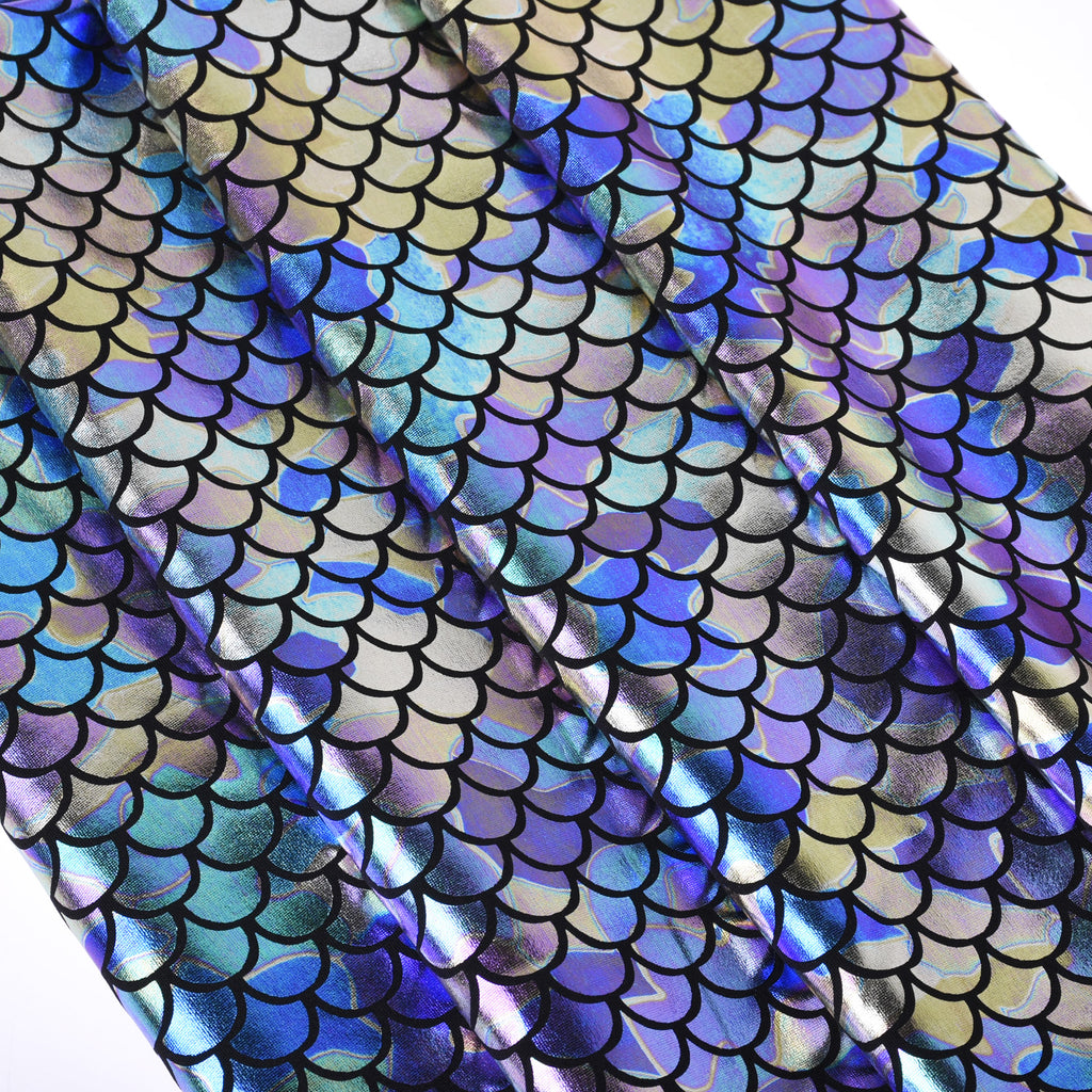 Mermaid Scale Pattern Fabric Fish Scales Spandex Fabric Fish Scale on Spandex Fabric Sold By the Yard 102701