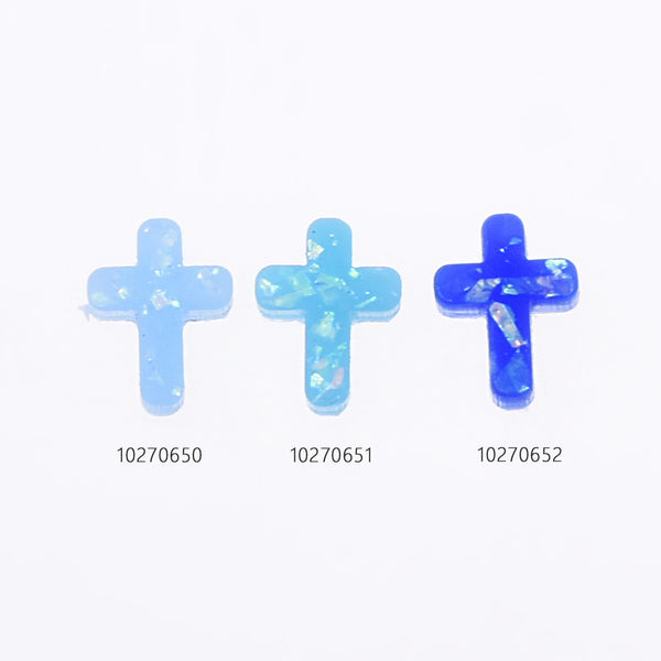 8.7*11.5mm Artificial Opal Hamsa Resin cross Opal Beads 1.8mm hole Charm Connector opal jewelry 20pcs 102706