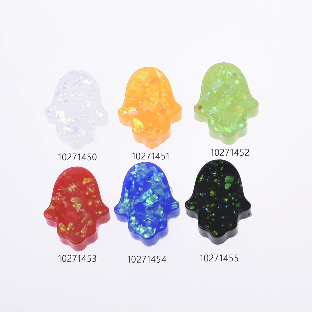 12*14mm Artificial Opal Hamsa Resin Opal Beads without hole Hand Bead Charm Pendant Wholesale 20pcs 102714