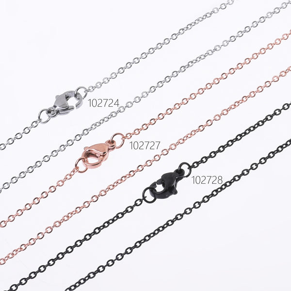 "304 Stainless Steel cross O Flat Link Chain width 1.6*0.4mm Jewelry Chains 18""/20""/24"" length color to choose DIY Accessorry 10pcs"