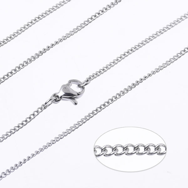 "18""/20""/24"" Stainless steel woven chain Necklace Chain Stainless Chain width 1.6mm Side Chain Jewelry for pendant 10pcs 102729"