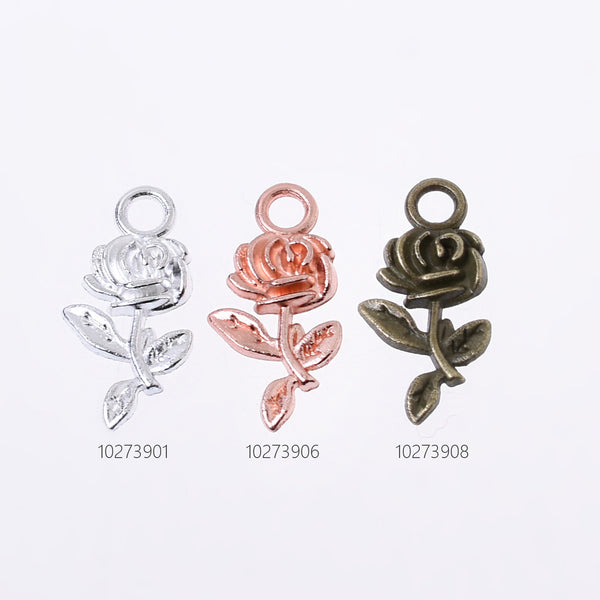 10*21mm Alloy Rose pendant Rose Charm Rose Pendant Necklace for Women Mothers Day 50pcs 102739