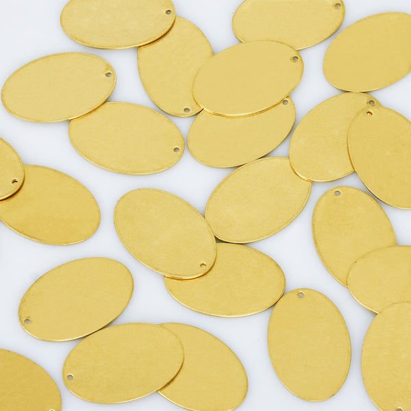"3/4*1 1/8"" Brass Oval Blank Stamping Tags Oval Connectors With 2mm Hole metal blanks 18Gauges 20pcs 10275550"