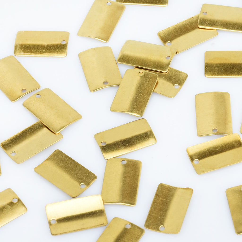 "3/8*5/8"" Brass Curved Rectangle Blank Stamping Charm with 1.2mm hole Geometric Findings Connector 20pcs 10275650"