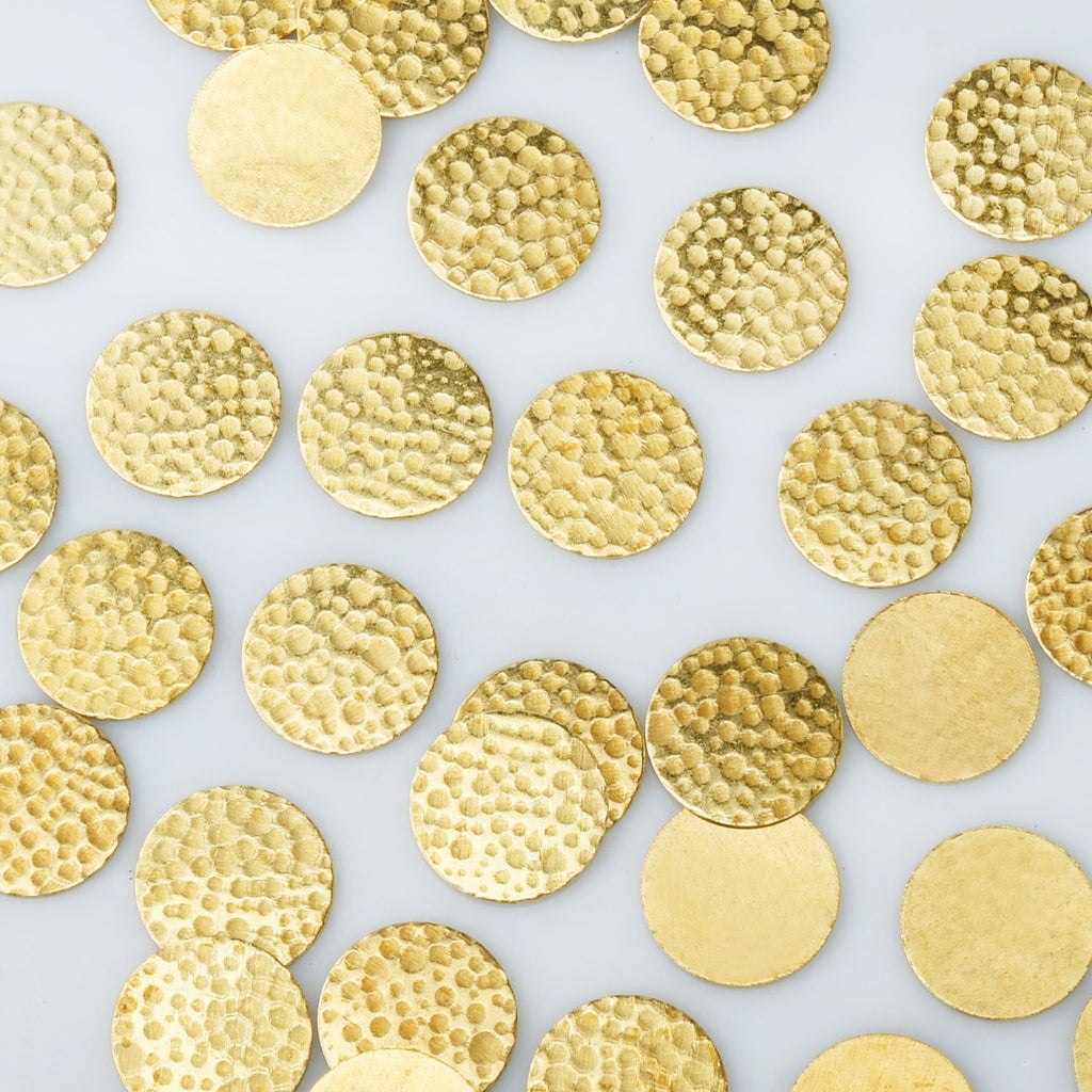 "5/8"" Brass Hammered Circle Stamping Blank Single-sided hammered Stamping Disc 20pcs 10275850"