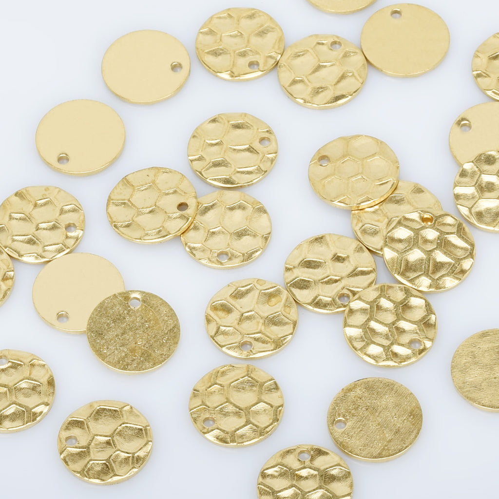 "7/16"" Raw Brass Hammered Round Disc Charms Metal Hammered Stamping Blank Circle pendant 20pcs 10276050"