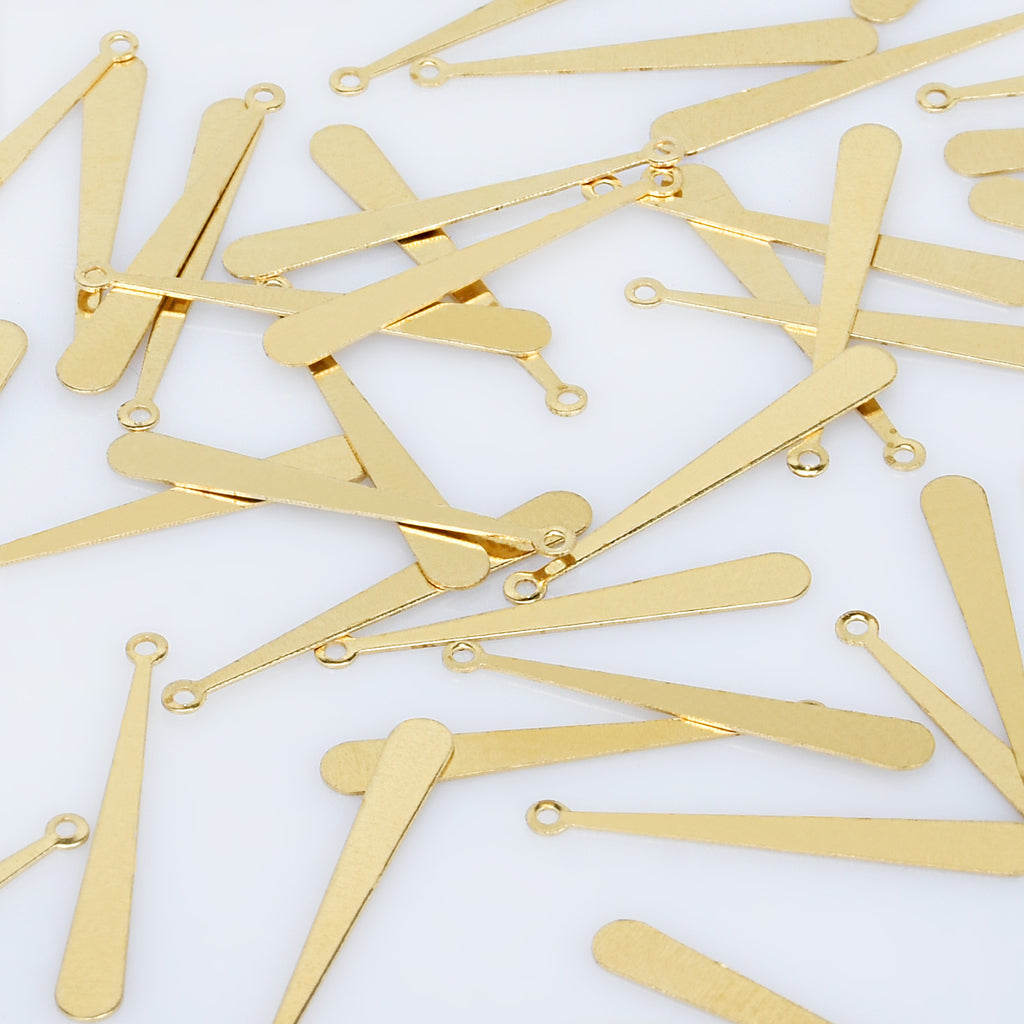 "1 3/16*1/8"" Single Hole Raw Brass Long Teardrop Pendant charms Teardrop jewelry diy Earrings Necklaces 50pcs 10276150"
