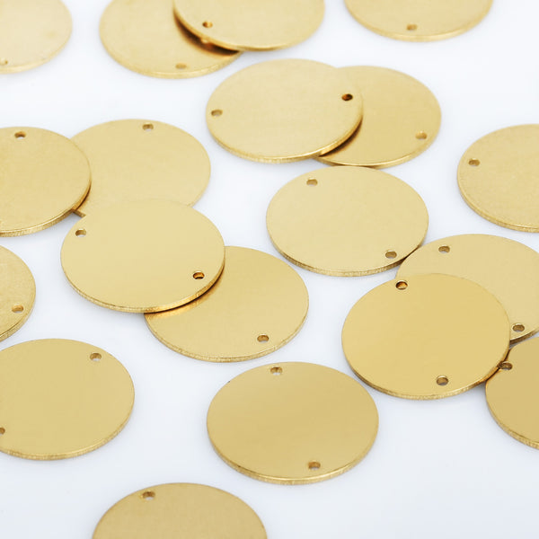 "13/16"" Raw Brass Round Stamping Blank Tags With 2 Holes Round Disc Cabochon Tags Geometric Stamping 20pcs 10276350"