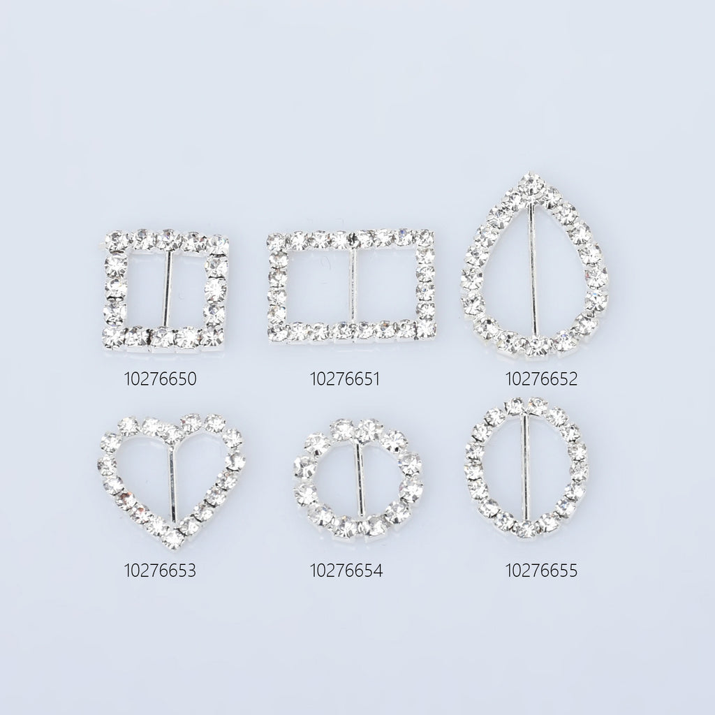 Bling Metal Rhinestone Buckle Sliders Square/Rectangle/teardrop/Heart/Round/Oval shape ribbon sliders DIY Jewelry 10pcs 102766