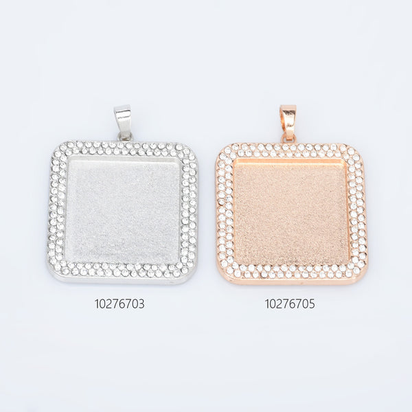 25mm Zinc Alloy Double Rhinestone Square Pendant Setting Tray Square Tray Pendant Blank Wholesale 5pcs 102767