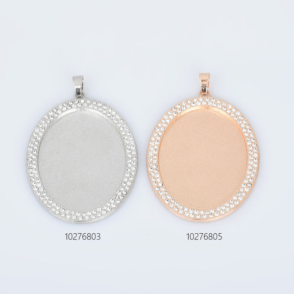 30*40mm Zinc Alloy Double Rhinestone Oval Cameo Setting Blank Pendant Trays DIY Jewelry 5pcs 102768