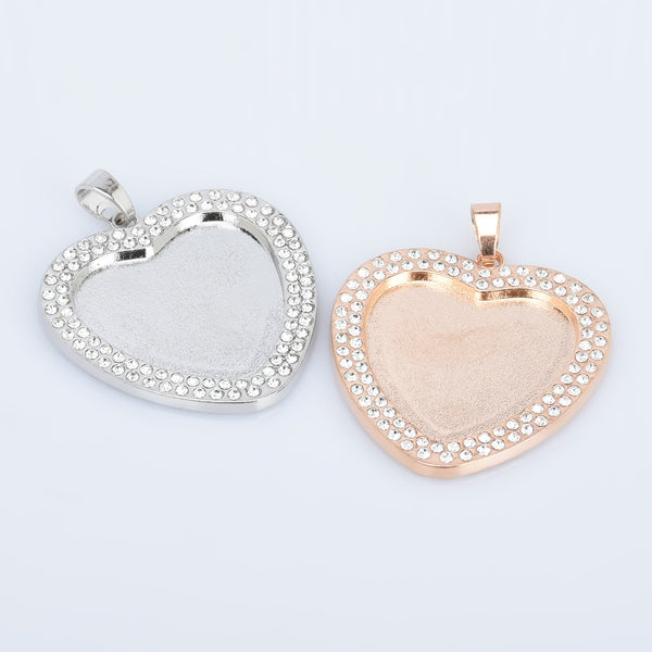 25mm Zinc Alloy Double Rhinestone Heart pendant setting Tray Blanks Cameo Base Setting Bezel Pendant 5pcs 102769