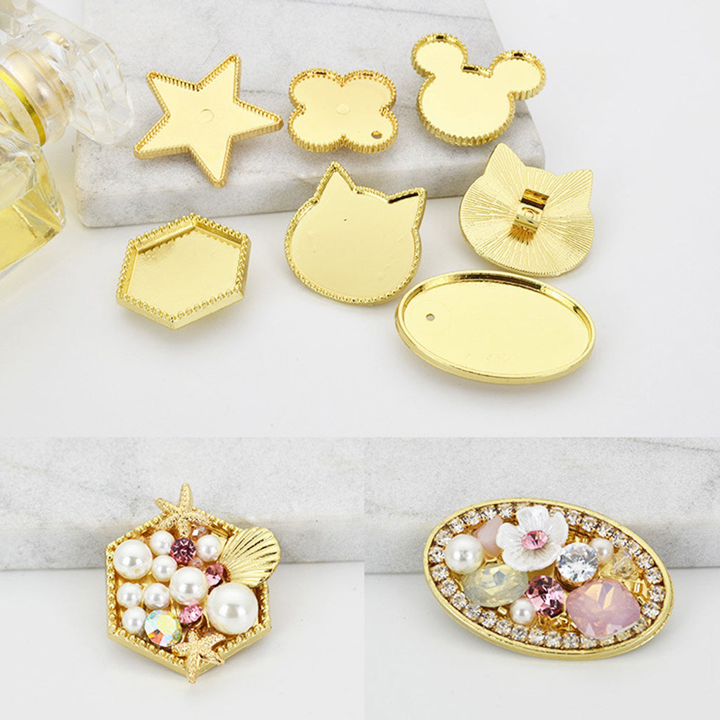 Golden Plated Hair Ponytail Buckle With bezel Cat/Star/Hexagon/Heart/Mickey/Oval shape Rubber band accessories 5pcs 102778
