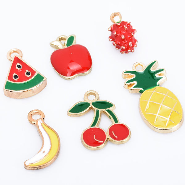 Alloy Fruit pendant watermelon/red apple/stereoscopic Strawberry/banana/cherry/pineapple shape Enamel Charms DIY Jewelry Accessories 20pcs 102790