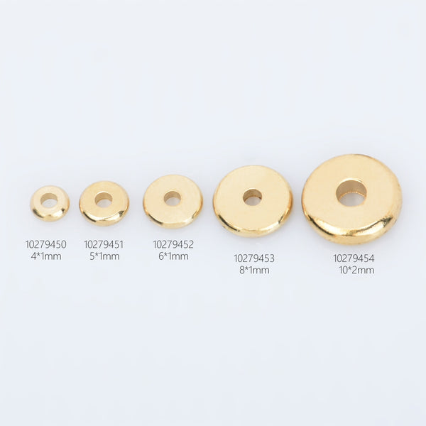 Brass Spacer Beads 4/5/6/8/10 mm Round Discs Flat Beads Spacers Rondelle Spacer Donuts Findings 100pcs 102794