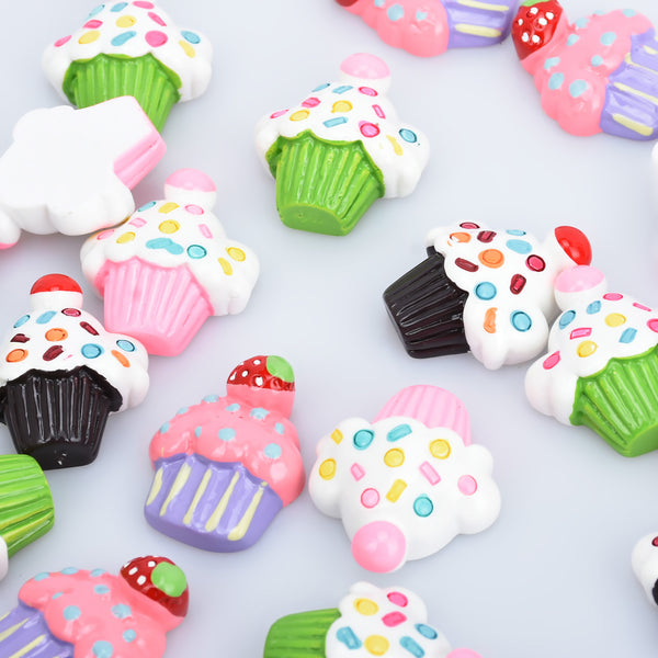 25*30mm Ice Cream Cake Kawaii Resin Cabochons Flatback Dessert Charms Hair Bow Making 10pcs 102806