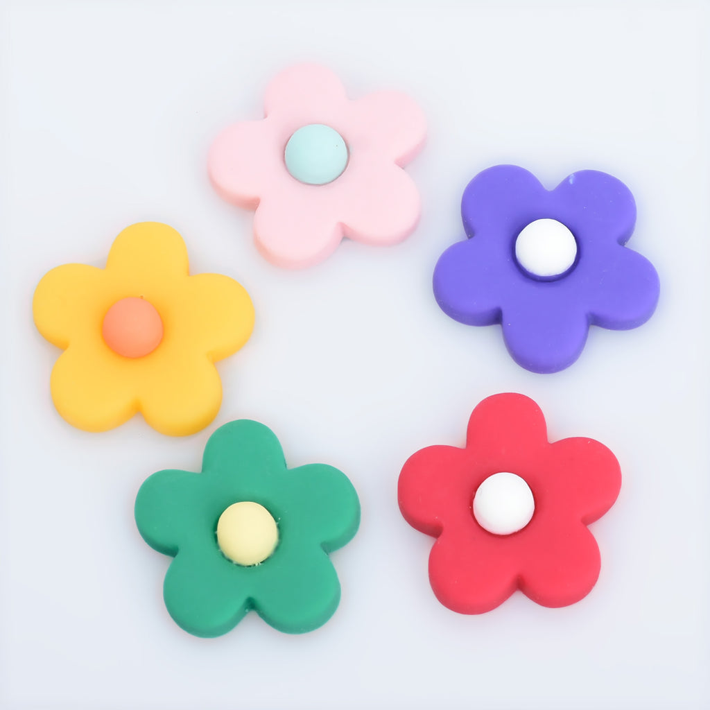 25mm Resin flower Flatback Cabochons Hair Clips Flowers Accessories Party Decoration DIY Jewelry 20pcs 102813