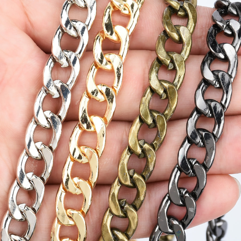High Quality 9mm Width Iron Flat Chain Metal Shoulder Handbag Strap Chain purse chain 60cm/120cm Length to choose 1pcs 10281