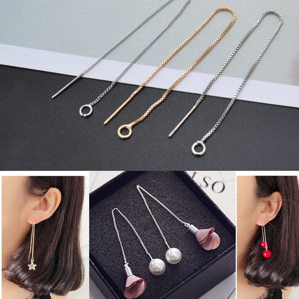 "Brass 3 5/8"" Thread Earrings Threader Ear wires Earring Findings Chain Earrings Ear Chain Wire Thread 6pcs 102826"