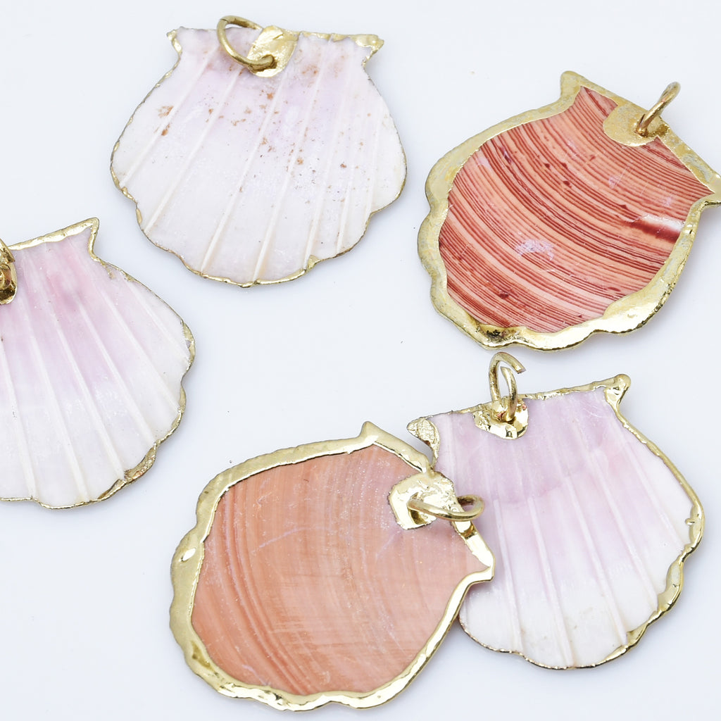 Natural Shell Pendant With Holes Seashell Charms Beach Decor