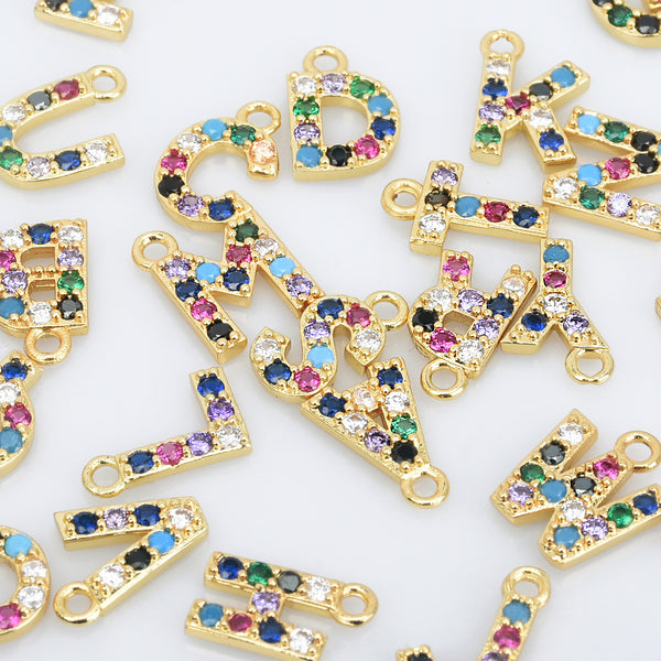 10*13mm Brass Colorful Cz Letter pendant Uppercase Letter Charms 2mm hole Alphabet A-Z Letters pendant 1pcs 102849