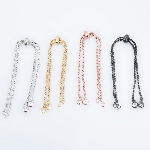Brass Half finished Adjustable Chain Bracelet Sliding Bracelet chain with Rubber Stopper Beads Expandable Bracelet 1pcs 102850
