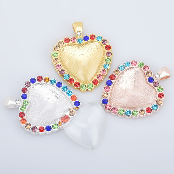 25mm Alloy Heart shaped Rhinestone Pendant Kits setting Base bottom Trays with Matching Glass Cabochons DIY Jewelry 6pcs 102851