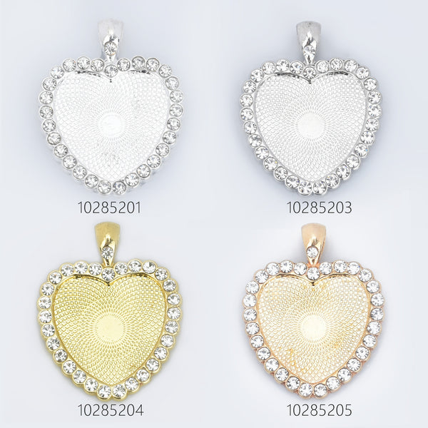 Heart Rhinestone Pendant Trays 25mm Blank Base Bezel Pendant Settings for Glass Jewelry Findings 5pcs 102852