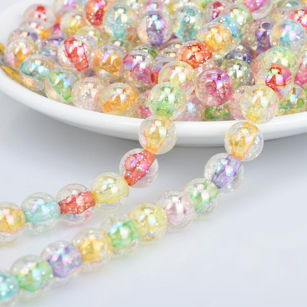 10mm/14mm Pastel Beads Plastic round Beads Mix Translucent Acrylic or Resin Beads Random mixed Bead Supplies 100pcs 102858