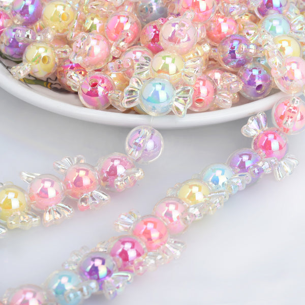 22*10mm Pastel Beads Candy Plastic Beads AB Translucent Glitter Acrylic or Resin Beads Random mixed Children DIY Jewelry accessories 50pcs 10285949
